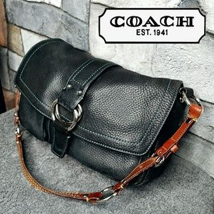 Coach Black Leather Blue Stitching Chelsea 8A41